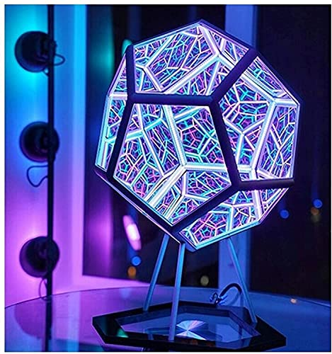 Infinite Dodecahedron Color Art Light – Creative and Cool Space LED Night lamp, Furniture Decoration Table lamp Party…