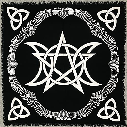 THE ART BOX Altar Cloth Tarot Cards Table Napkins Witchcraft Supplies Black Gold Tablecloth Square Alter Pagan Spiritual Celestial Deck Cloth with Fringes , Pentagram Triquetra , 36x36 Inches