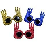 NUOBESTY 3 Piezas Gafas de Fiesta de Plástico Anteojos Ok Gesto Forma Rapero Hip Hop DJ Gafas de Sol Fiesta Gafas Novedad Vestido Elegante para Disfraz Cosplay Accesorios de Foto