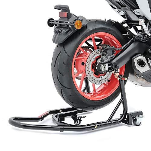 ConStands Mover II Racing - Motorrad Montageständer für Yamaha MT-07 Tracer Schwarz Hinten Rangierhilfe Hinterrad-Ständer Heber