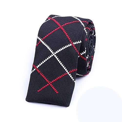 Wangwang454 Stricken Sie Die Krawatte Männlich Schmal Koreanische Version Der Schwarzen Lässigen Retro-Krawatten-Geschenkbox, Schwarze Untere Streifen
