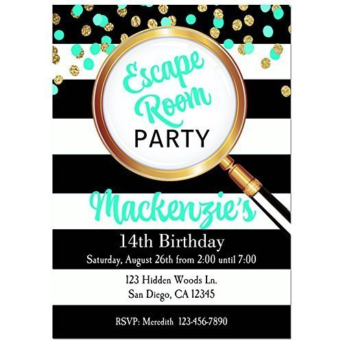 Teal Escape Room Party Invitations with ANY Wording Printed or Printable - Escape room, mystery, Party Invitation