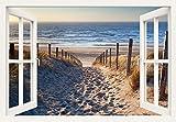 Artland Qualitätsbilder I Wandtattoo Wandsticker Wandaufkleber 70 x 50 cm Landschaften Strand Foto Creme C3JO Weg Nordseestrand Sonnenuntergang