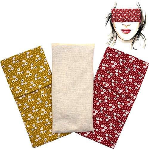 Almohada para los ojos 'Pack Duo Pradera' (1 relleno y 2 fundas lavables)   Semillas de Lavanda y semillas de arroz   Yoga, Meditación, Relajación, descanso de ojos...