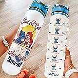 Niersensea Lilo & Stitch - Botella de agua sin BPA, tritán, ligera, con marcador de tiempo, para fitness, correr, yoga, bicicleta, exterior, color blanco, 1000 ml