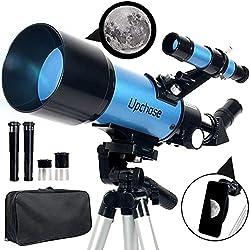 Upchase Telescopio Astronomico, 400/70mm Blue, Telescopio Rifrattore, Adatto per Adulti-Bambini-Principianti, Guarda il paesaggio e la luna, Treppiede Regolabile e Zaino, Compleanno o Regalo di Natale