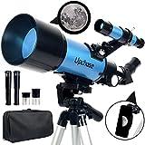 Upchase Telescopio Astronomico, 400/70mm Azul, Portátil y Potente Refractor Telescopio, Ajustable Trípode, Adaptador Móvil, Fácil de Montar, Observer la Luna, Aves, Regalos para Niños y Adultos