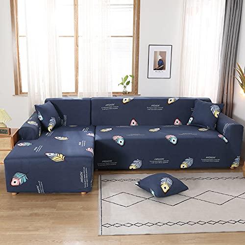 Funda elástica para sofá, Funda elástica seccional para sofá, Funda para Sala de Estar, Funda para sillón de Esquina en Forma de L, A19, 2 plazas