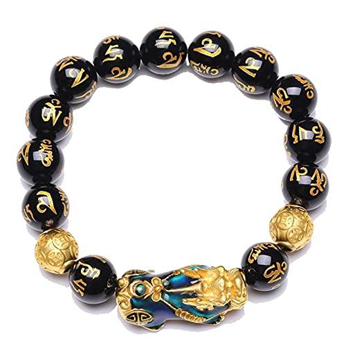 Pulsera De Cuentas De Ónix Negro Natural Con Cambio De Temperatura Color Lucky Pixiu Brave Troops Fengshui Jewelry