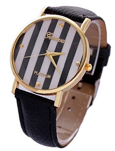 CursOnline Geneva Platinum - Reloj de mujer con bandas de acero y oro (dorado), elegante e informal, ideal para la temporada de verano, cómoda pulsera de piel sintética