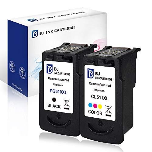 BJ Wiederaufbereitet Druckerpatronen für Canon PG-510 & CL-511 kompatibel für Canon IP2700 MP230 MP240 MP250 MP260 MP270 MP280(1 Schwarz, 1 Farbe)