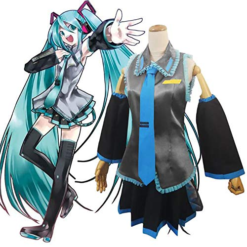 SHIXUE Disfraz de anime Hatsune Miku para adultos, disfraz de cosplay Halloween carnaval incluyendo todos los accesorios, XS