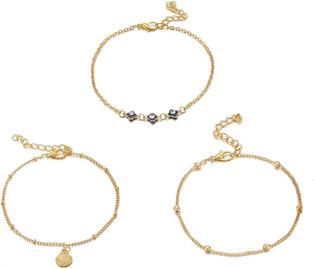 YAZILIND Simple Bracelet Set Alloy Chain Eye-shaped Shell Anklet Women Girls Birthday Gift Jewelry
