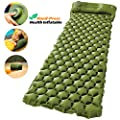 AirExpect Camping Sleeping Pad with Built-in Pump Upgraded Inflatable Camping Mat with Pillow for Backpacking, Traveling, Hiking, Durable Waterproof Compact Ultralight Hiking Pad (Green)