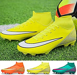 Men's Soccer Shoes Outdoor Sports Shoes Waterproof and Comfortable Sports Shoes Student Youth Football Boots(Yellow,6)