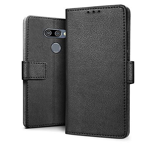 HDRUN Hülle Kompatibel für LG K50 Hülle - Premium PU Leder Flip Tasche Hülle mit Kartensteckplätzen & Ständerfunktion Schutzhülle Handyhüllen für LG K50, Schwarz