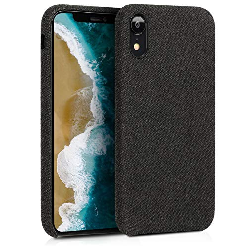 kwmobile Hülle kompatibel mit Apple iPhone XR - Stoff Case Handy Schutzhülle - Backcover Cover Schwarz