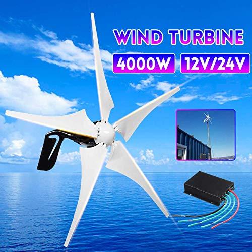 SISHUINIANHUA Windenergie, Elektrizität Generator 4000W 5 Windklingen Horizontal Windgenerator mit Steuerpult Windturbinen Blade-12V / 24V,12v