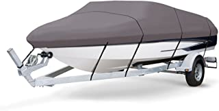 "Universal Boat Adjustable Storage Cover - 16-18.5'L to 98"" Fishing Boats Protection Custom Heavy Duty Waterproof Mildew Weather Resistant Polyester Fabric Air Vents, Elastic Cord, Bag - Pyle PCVSPB332"