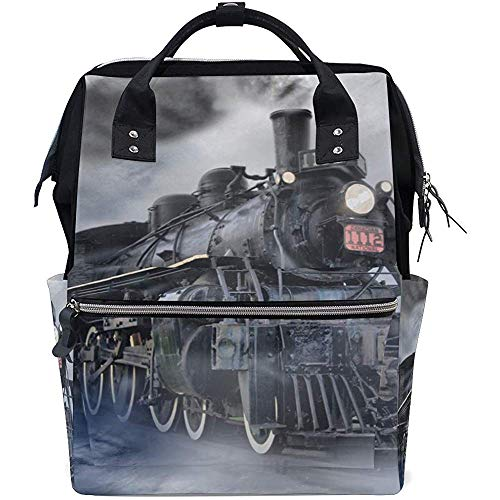 College Bag Vintage Retro Stoom Trein Papa Baby Tassen Luier Moeder Grote Capaciteit Rugzak Multi-Functie Casual Rugzakken Rits Reizen Unisex 28X18X40Cm
