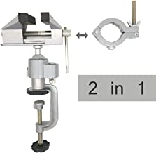JUGREAT 2in1 Table Vise Bench Vice 360 Degree Aluminum Alloy Swivel Rotating Clamp for Electric Drill Stent Grinder Tools Holder