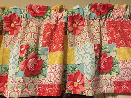 The Pioneer Woman Patchwork Flower Floral Country Farmhouse Window Topper Treatment Valance Decor