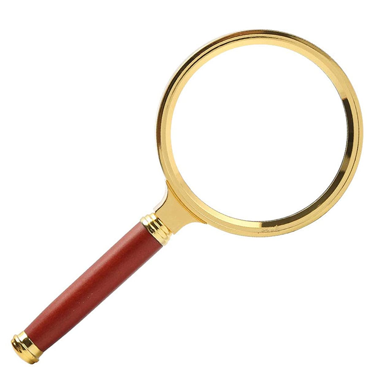 Handheld Wooden Handle Magnifying Glass, Old Man Reading Picture Reading, HD Recognition, 5 Times Metal Frame Large Lens