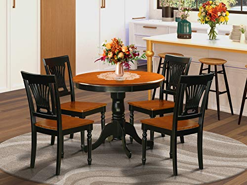 East West Furniture ANPL5-BLK-W Dinette Set- 2 Fantastic Wooden Chairs - A Lovely Kitchen Table- Wooden Seat- Cherry and Black Kitchen Table