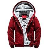 MRULIC Herren Hoodie Pullover Winter Warme Fleece Jacke Zipper Sweater Jacke Outwear Mantel RH-054 (EU-42/CN-M, Y3-Rot)