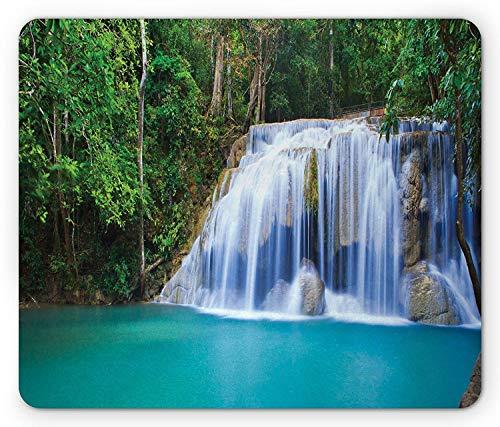 Wasserfall-Maus-Pad, versteckter Pool im Wald ro-CKY Brook-Wasserfall-frisches Laubbild, Mousepad, Türkisgrün