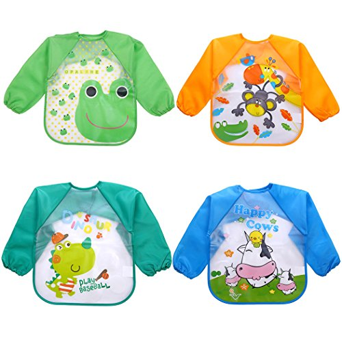 Aniwon 4Pcs Infant Toddler Baby Bibs with Sleeves Waterproof Bibs Long Sleeved Bibs, 1-5 Years Old