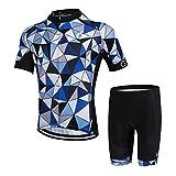 GWELL Herren Radtrikot Set Fahrrad Trikot Kurzarm + Radhose mit Sitzpolster Radsport-Anzüge Blau Karo (Set mit Shorts) L