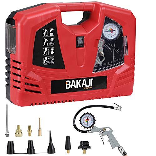 Bakaji Compressore Aria Portatile Potenza 1100W 8 Bar con Pistola Aria Compressa Manometro Integrato e 8 Connettori per Gomme Pneumatici e Gonfiabili Forma Valigetta con Manico per il Trasporto