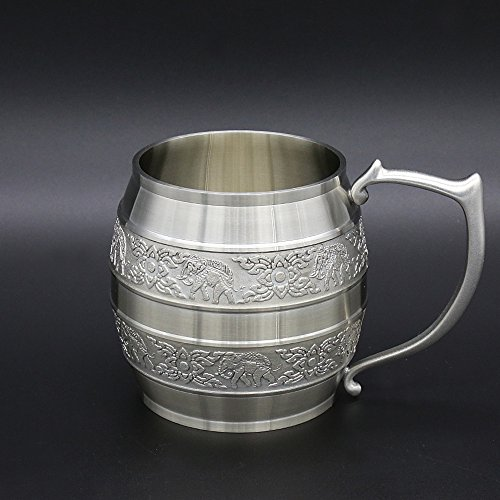 Oosterse tinnen - tinnen bier mok (klein formaat) pure tin 97% loodvrije tinnen BM99 hand gesneden mooi reliëf handgemaakt in Thailand