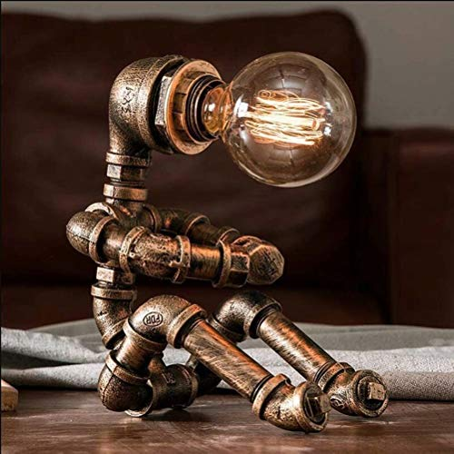 Lámpara de escritorio Vintage Lámparas de sobremesa retro noche mesa luz E27 metal y vidrio Lámpara de mesa industrial para sala de estar dormitorio sala de estudio, bronce