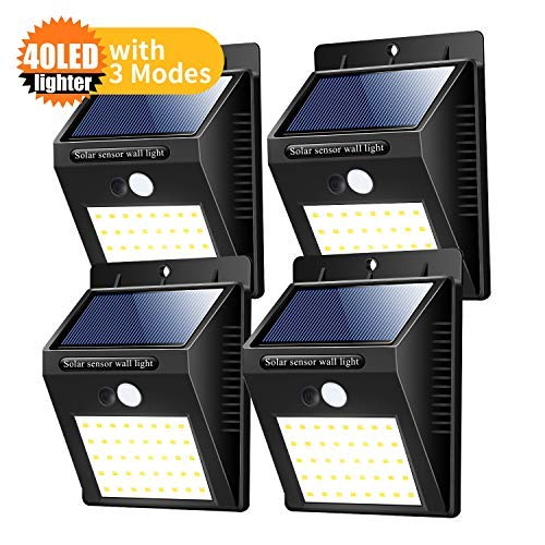 Solar Lights Outdoor, Zoneyee Super Bright Motion Sensor Lights [40 LED] Waterproof Wall Light Wireless Security Night Light for Patio, Pathway, Deck, Yard, Garden(4Pack)-White