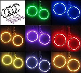 Qiuko 4pcs 90mm RGB Halo Rings Headlight Car Angel Eyes Motorcycle With 24 Keys Controller