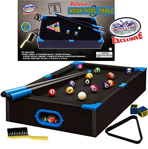 "Matty's Toy Stop Deluxe Wooden 20"" Mini Table Top NEON Pool (Billiards) Table with 15 Colored Balls, 1 Cue Ball, 1 Brush, 2 Pool Sticks, 2 Cubes of Chalk & Racking Triangle"