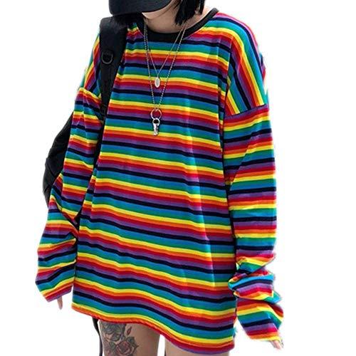 Tasty Life Sudadera A Rayas Rainbow Camiseta para Mujer, Color Cuello Redondo Top Harajuku Casual Camisa Elegante Suelta De Manga Larga Camiseta Otoño Elegante Top Suéter Top