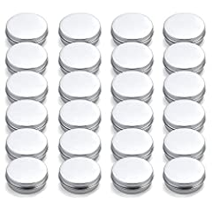 """Set of 24 empty tins with lids in easy-to-open box. Unit Size: 2.5"""" dia. x 1"""" height Material: Aluminum; Capacity: 2 oz./60 ml; Color: Silver Tin cans have no sharp edges, all edges are rounded and are seamlessly formed. Perfect for salve, lip balms,..."""