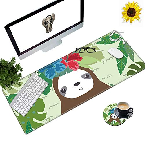 Large Gaming Mouse Pad Office Extended XL Mousepad Non-Slip Soft Keyboard Mouse Mat Home Desktop Writing Pad (31.5'×11.8') with Lovely Sloth Design + Cup Coaster and Cute Stickers