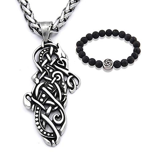 Gungneer Celtic Dragon Necklace Pendant Stainless Steel Trinity Knot Talisman Irish Jewelry Accessory Men Women