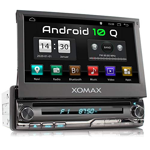 XOMAX XM-DA775 Autoradio con Android 10 I Quad Core, 2GB RAM, 32GB ROM I Navigatore GPS I Supporto WIFI, 4G, DAB, OBD2 I Bluetooth I Touch Screen 7'' I DVD, CD, USB, SD, AUX, RDS I 1 DIN