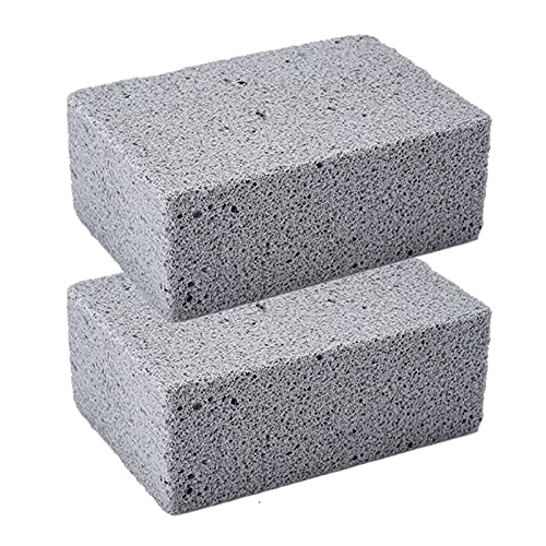 Piedra de Limpieza de Pómez,Ladrillo de limpieza de parrilla,2 piezas de bloque de parrilla para limpiar parrillas o planchas Piedras descalcificadoras reutilizables Limpiador de ladrillos de piedra