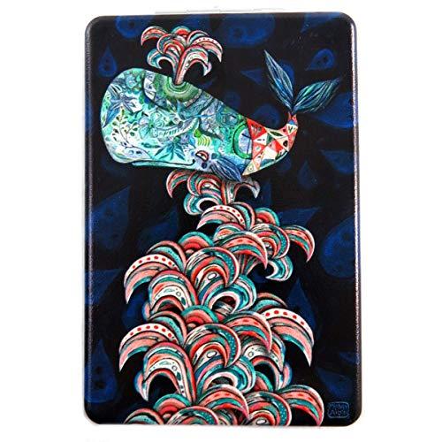 Allen Designs [Q1975] - Miroir de poche 'Allen Designs' noir multicolore (baleine) - 8.5x5.5 cm