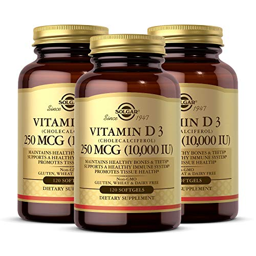 Solgar - Vitamin D3 (Cholecalciferol) 10,000 IU Softgels, 120 Count (3 Pack) - Supports Bone, Muscle and Immune System