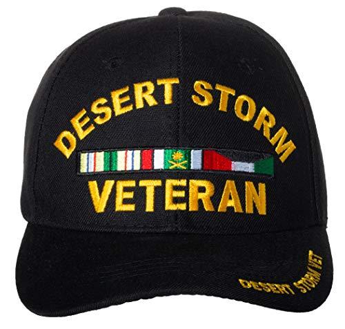Artisan Owl Desert Storm Veteran Service Ribbon Embroidered Black Baseball Cap