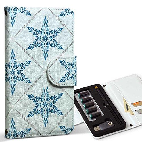 スマコレ ploom TECH プルームテック 専用 レザーケース 手帳型 タバコ ケース カバー 合皮 ケース カバー 収納 プルームケース デザイン 革 雪 結晶 アンティーク 009375