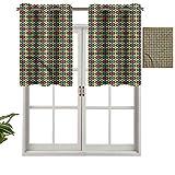 Hiiiman Cortinas con ojales en la parte superior, cenefas marroquíes Zellige, juego de 1, 91,44 x 45,72 cm, aislamiento térmico para sala de estar