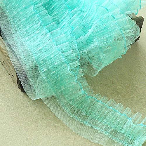 9cm brede luxe tule dubbele lagen 3d chiffon kant fabirc kraag hals trim decoratieve lint jurk afsnijdsels naaien aanbod, mintgroen